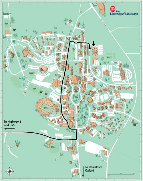 Ole Miss Campus Map The University of Mississippi   Division of Outreach and  Ole Miss Campus Map